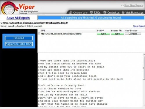 "review viper anti plagiarism scanner plagiarism today viper after nearly two hours of setup and failed searching finally had detected a single case of ""plagiarism"" spotting the url where the poem can be found"