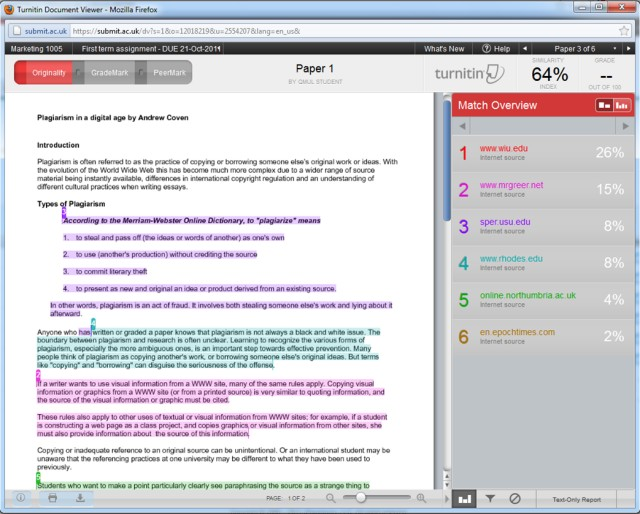 turnitin report dissertation Viewing and intepreting your originality report turnitin: instructional guide for students toggle action bar faq actions print tweet share on facebook was this.