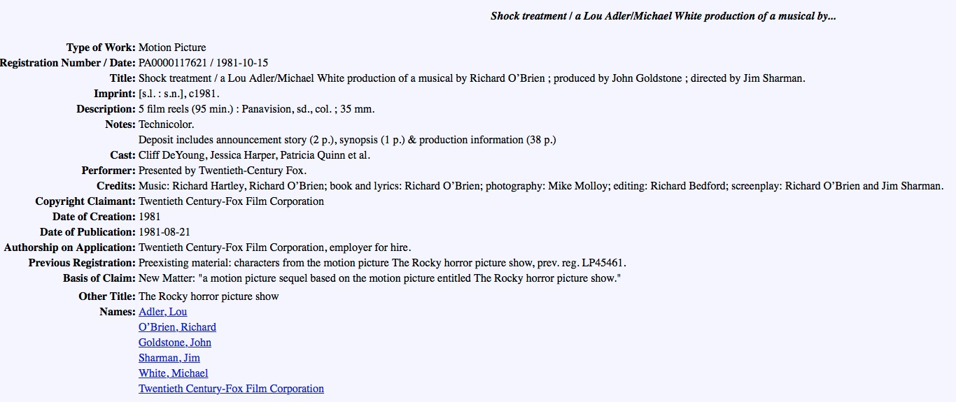 20th Century Fox Is The Copyright Claimant And That Film Listed As A Work For Hire Company
